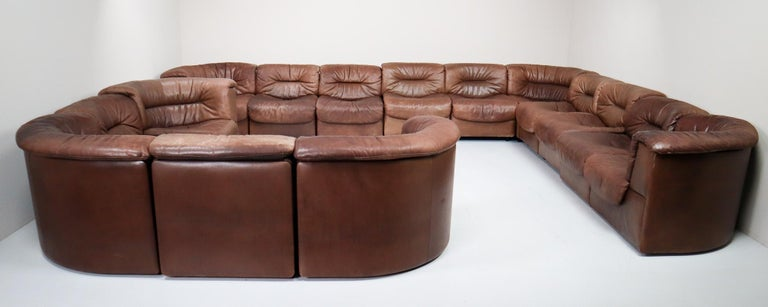 Swiss Large Set of 19 Elements Patinated Leather De Sede DS 14 Modular Sofa, 1970s For Sale