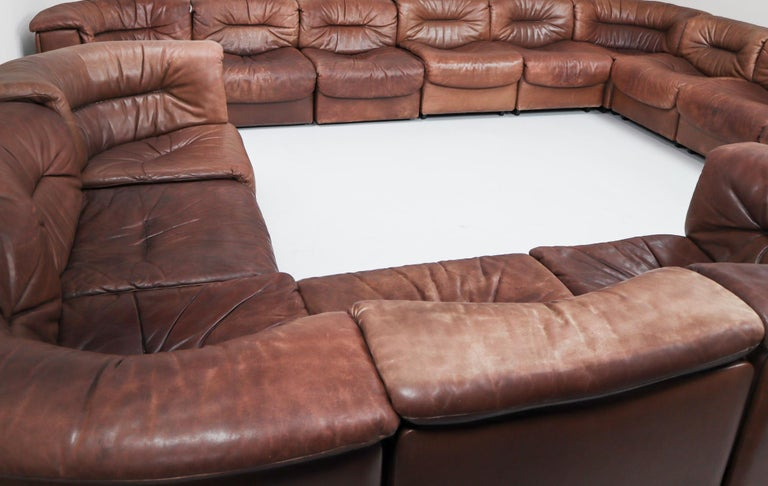 Large Set of 19 Elements Patinated Leather De Sede DS 14 Modular Sofa, 1970s In Good Condition For Sale In Almelo, NL