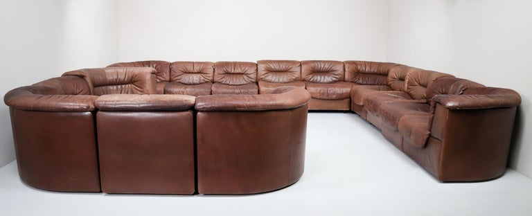 Large Set of 19 Elements Patinated Leather De Sede DS 14 Modular Sofa, 1970s For Sale 1