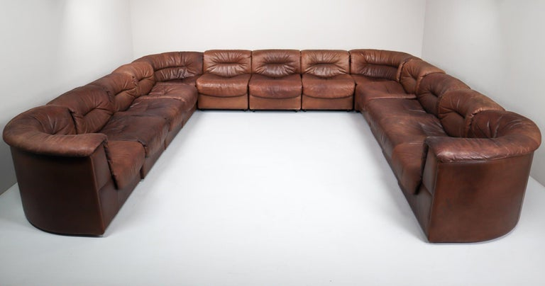 Large Set of 19 Elements Patinated Leather De Sede DS 14 Modular Sofa, 1970s For Sale 3
