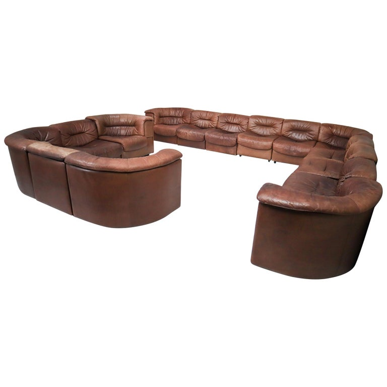 Large Set of 19 Elements Patinated Leather De Sede DS 14 Modular Sofa, 1970s For Sale