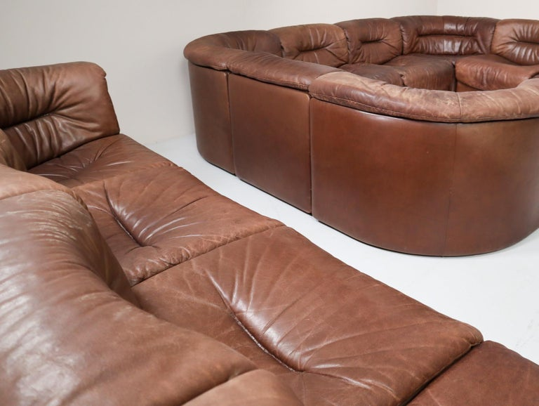 Large Set of 19 Elements Patinated Leather De Sede DS 14 Modular Sofa, 1970s For Sale 4