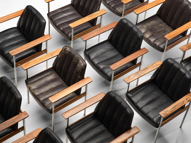 Scandinavian Modern Large Set of 24 Chairs in Rosewood by Sven Ivar Dysthe For Sale