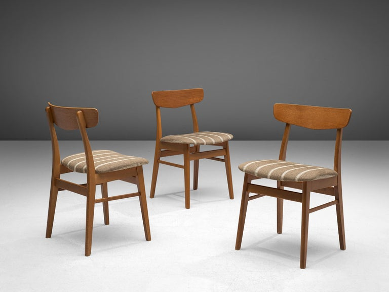 Fabric Large Set of 24 Dining Chairs in Teak, Denmark, 1960s For Sale