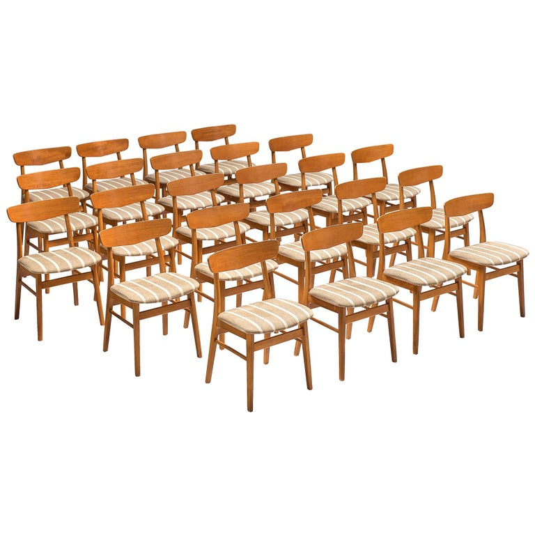 Large Set of 24 Dining Chairs in Teak, Denmark, 1960s For Sale