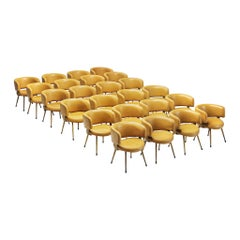 Large Set of 24 Italian Armchairs in Cognac Leatherette