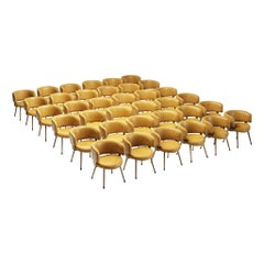 Large Set of 36 Italian Armchairs in Cognac Leatherette