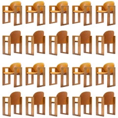Large Set of +90 'Dialogo' Cognac Leather Chairs by Afra and Tobia Scarpa