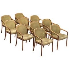 Large Set of Armchairs with Soft Green Upholstery by Ton