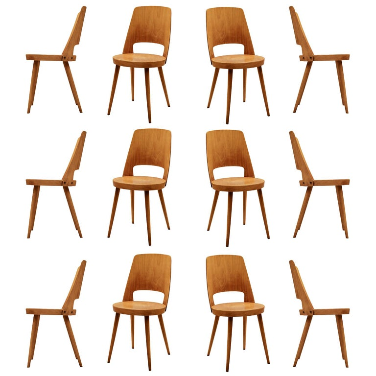 Large Set of Baumann 'Mondor' Chairs  For Sale