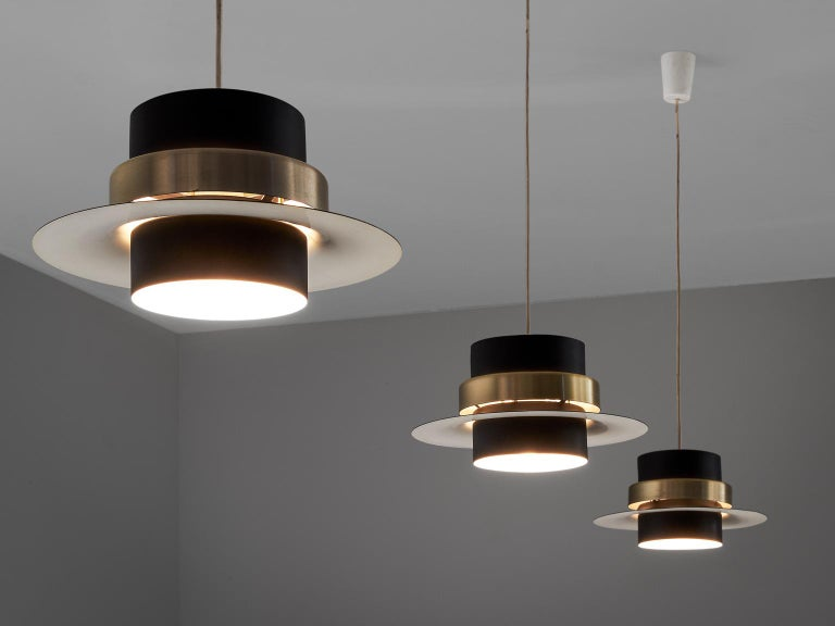 Mid-Century Modern Large Set of Black Coated Metal Pendants For Sale