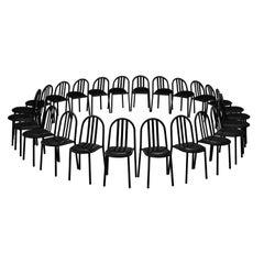 Large Set of Black Tubular Steel Chairs by Robert Mallet-Stevens