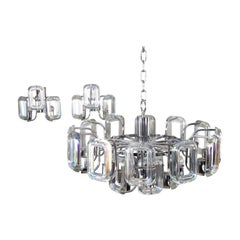 Large Set of Chandelier and Sconces of Italian Modern Iridescent Glass Links