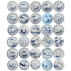 Large Set of Chinese 17th Century Porcelain Ming Dynasty Plates Chenghua Marked
