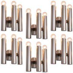 Large Set of Chrome Wall Lights