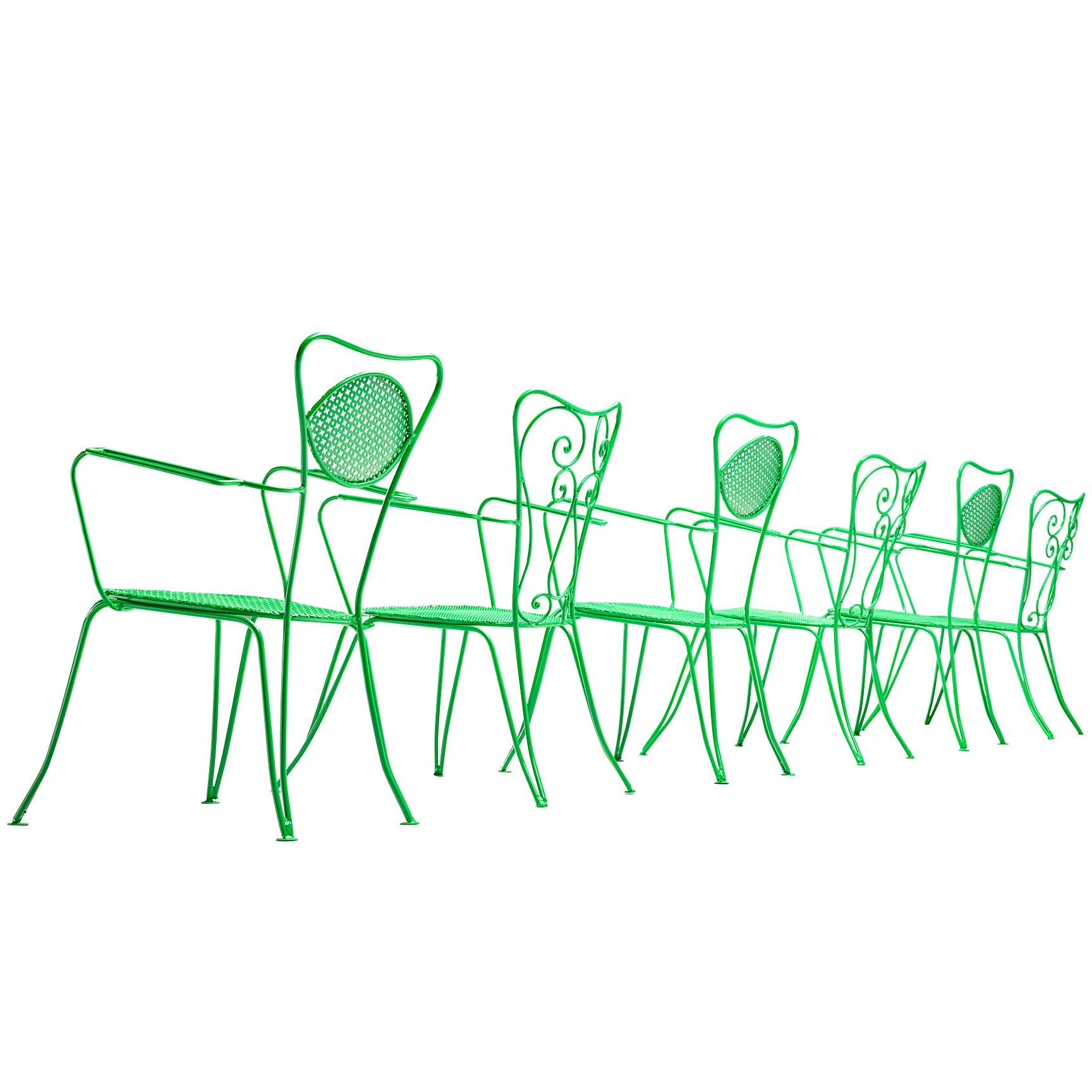 Large Set of Dining or Outdoor Chairs in Colourful Metal