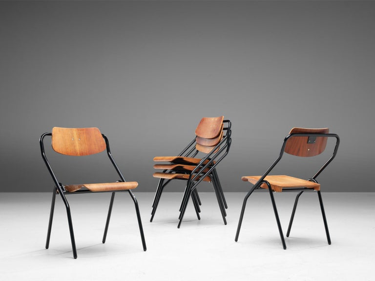 Mid-20th Century Large Set of Dutch Chairs with Black Tubular Frame For Sale