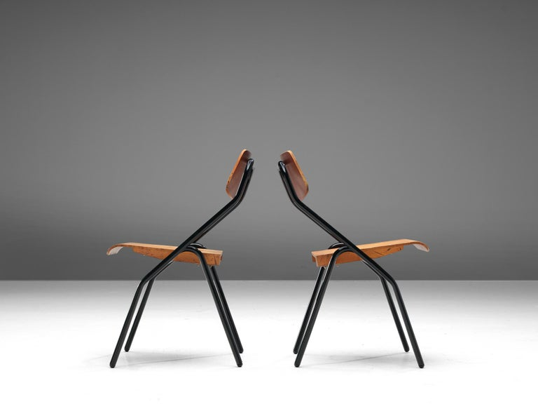 Metal Large Set of Dutch Chairs with Black Tubular Frame For Sale