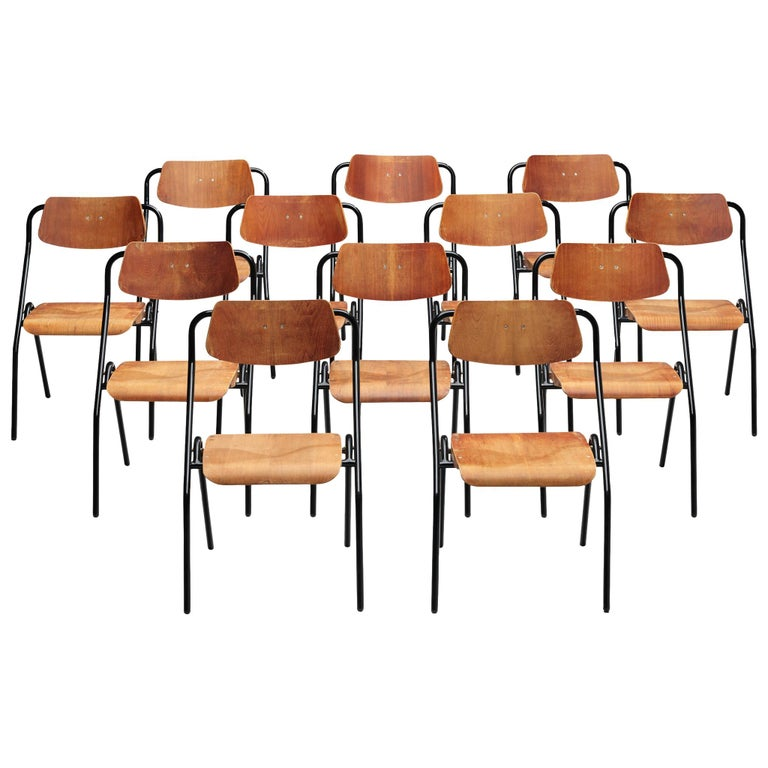 Large Set of Dutch Chairs with Black Tubular Frame For Sale