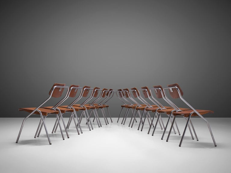 Large Set of Dutch Chairs with Tubular Frame + 200 For Sale 1