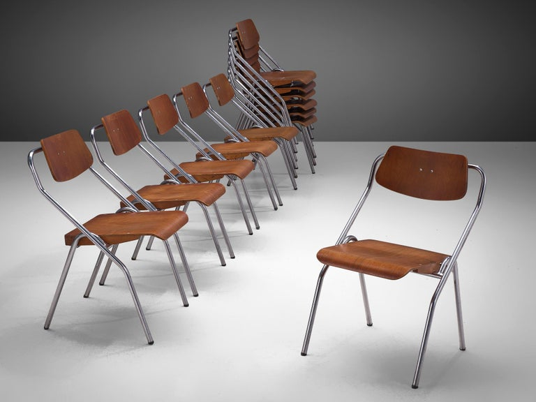 Large Set of Dutch Chairs with Tubular Frame + 200 For Sale 2
