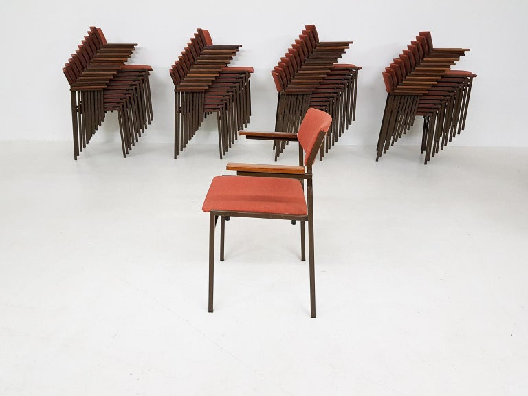 We have a large set of Dutch midcentury dining chairs available. The chairs are designed and manufactured by Gijs Van Der Sluis, the Netherlands 1960s.