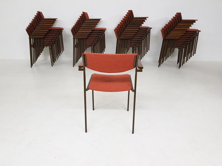 Mid-Century Modern Large Set of Dutch Midcentury Dining or Stacking Chairs by Gijs Van Der Sluis For Sale