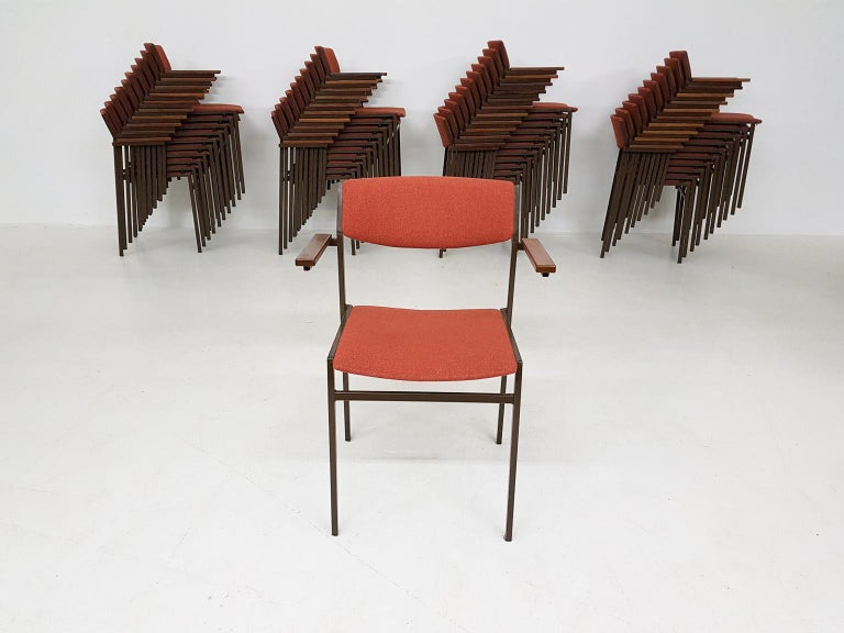 Large Set of Dutch Midcentury Dining or Stacking Chairs by Gijs Van Der Sluis In Good Condition For Sale In Amsterdam, NL