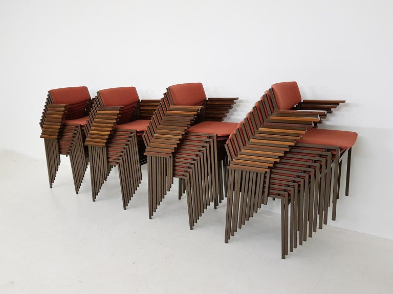 Large Set of Dutch Midcentury Dining or Stacking Chairs by Gijs Van Der Sluis For Sale 1
