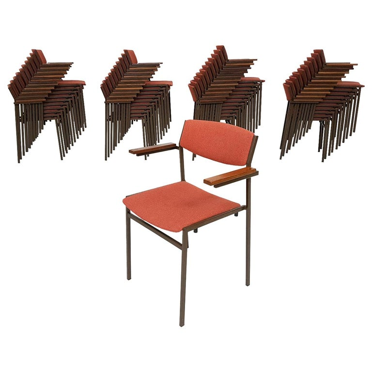 Large Set of Dutch Midcentury Dining or Stacking Chairs by Gijs Van Der Sluis For Sale