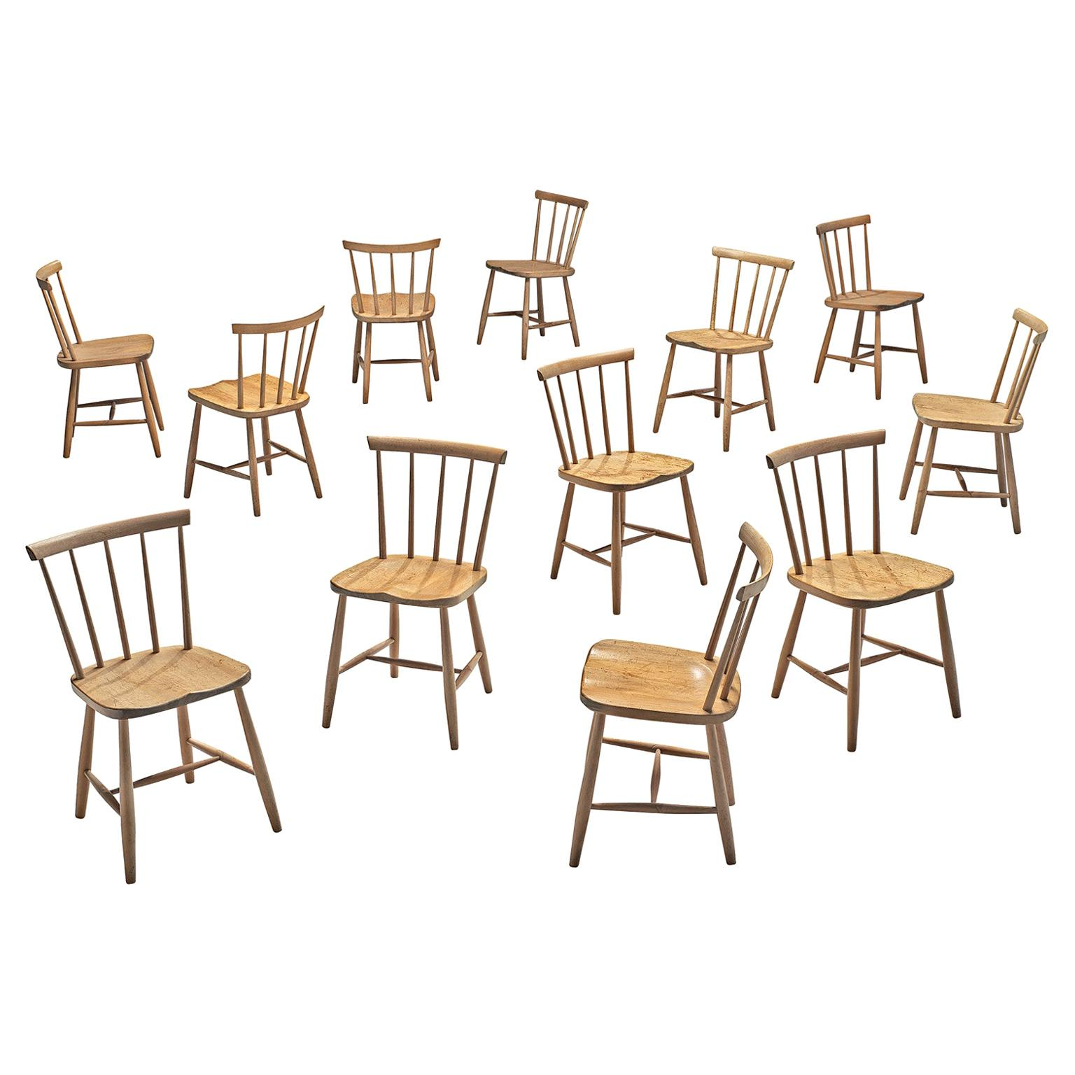 Large Set of Ercol Beech Dining Chairs