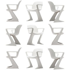 Large Set of Ernst Moeckl White Kangaroo Armchairs + 25
