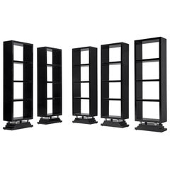 Large Set of Five Italian Black Bookcases, 1930s