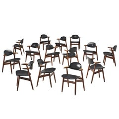 Large Set of Fourteen Bullhorn Chairs in Teak and Black Leatherette
