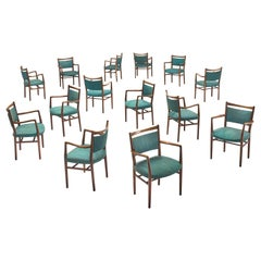 Large Set of Fourteen Danish Armchairs with Turquois Upholstery