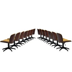 Large Set of Fourteen Rosewood Swivel Chairs by Ico Parisi for MIM Roma
