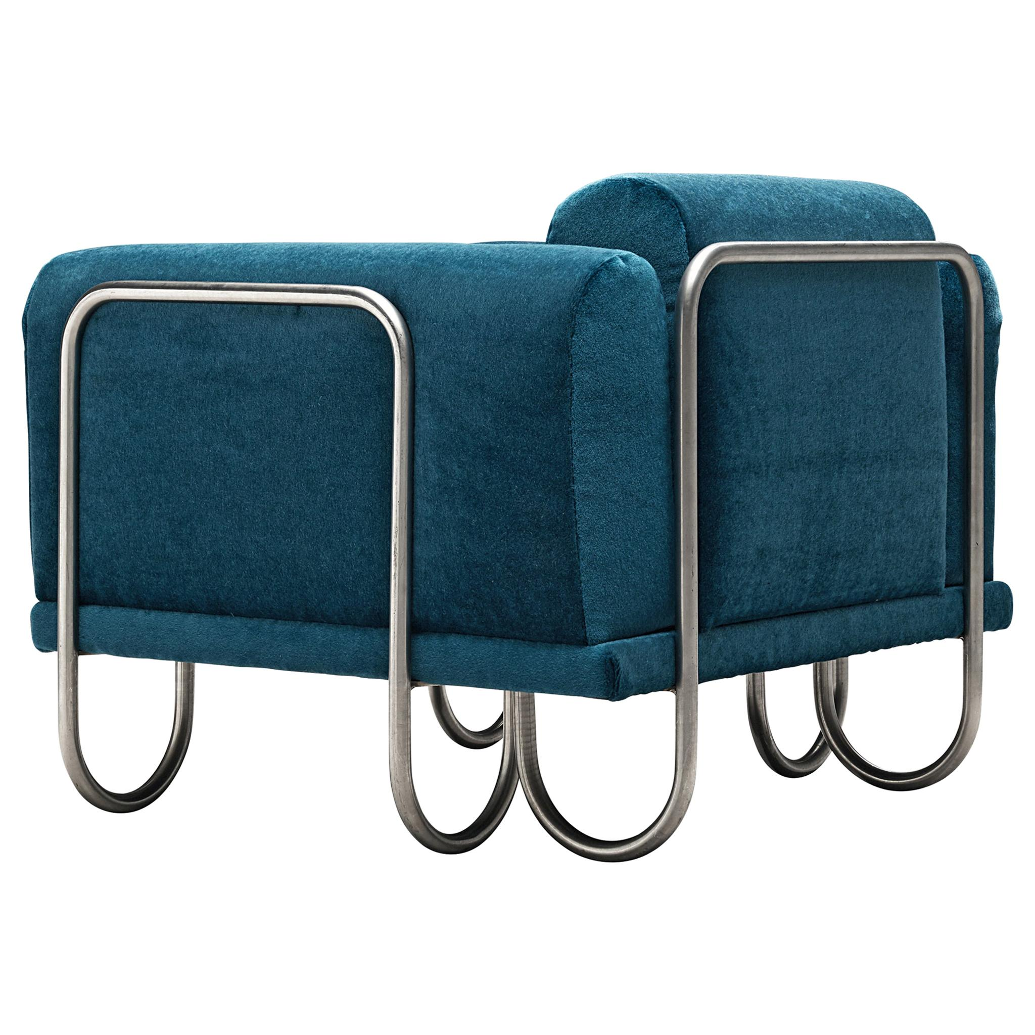 Large Set of French Lounge Chairs with Tubular Frames