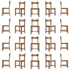 Large Set of Functionalist Chairs in Oak and Cord +35