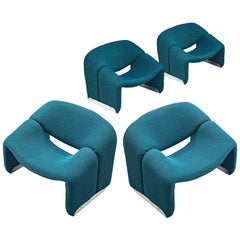 Large Set of 'Groovy' Lounge Chairs by Pierre Paulin in Turquoise Fabric