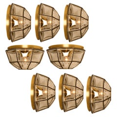 Large Set of Iron and Clear Glass Flushmounts/Wall Lights by Limburg, 1960s