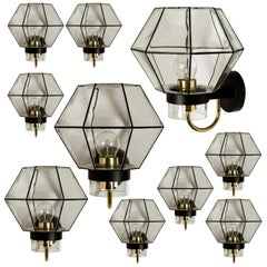 Large Set of Iron and Clear Glass Wall Lights by Glashütte Limburg, 1960