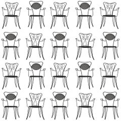 Large Set of Italian Black Patio Chairs + 200