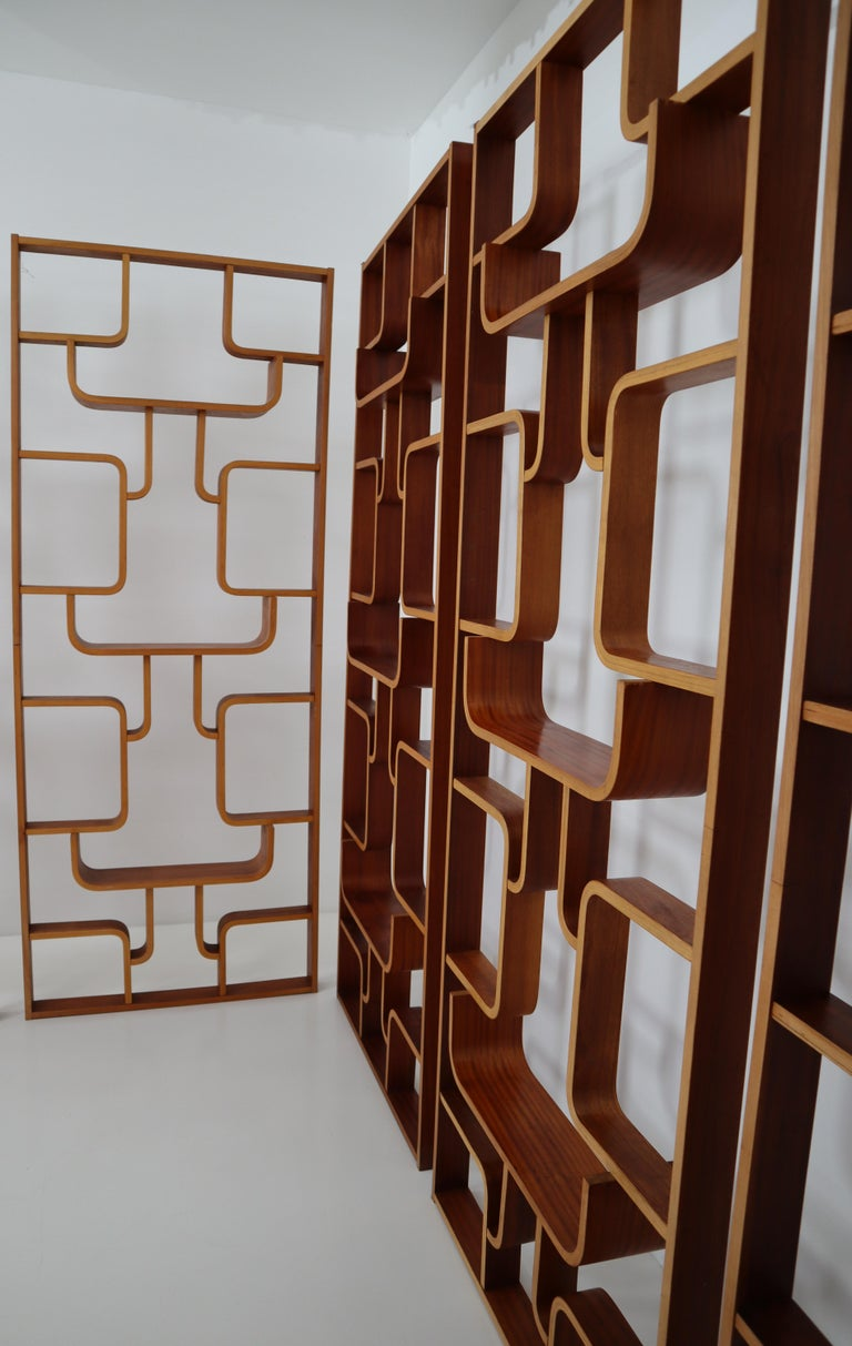 Large Set of Mahogany Color Midcentury Room Dividers in Bentwood, circa 1960s For Sale 5
