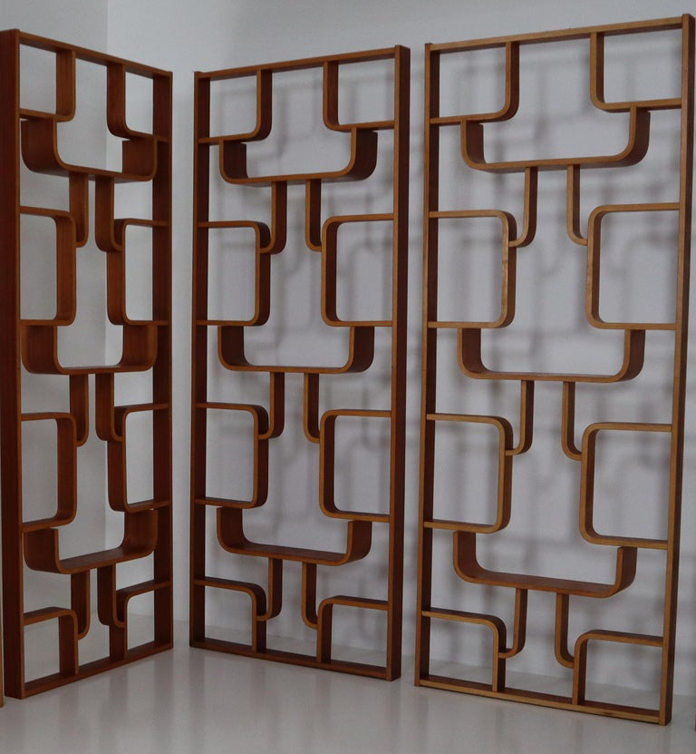 Large Set of Mahogany Color Midcentury Room Dividers in Bentwood, circa 1960s For Sale 6