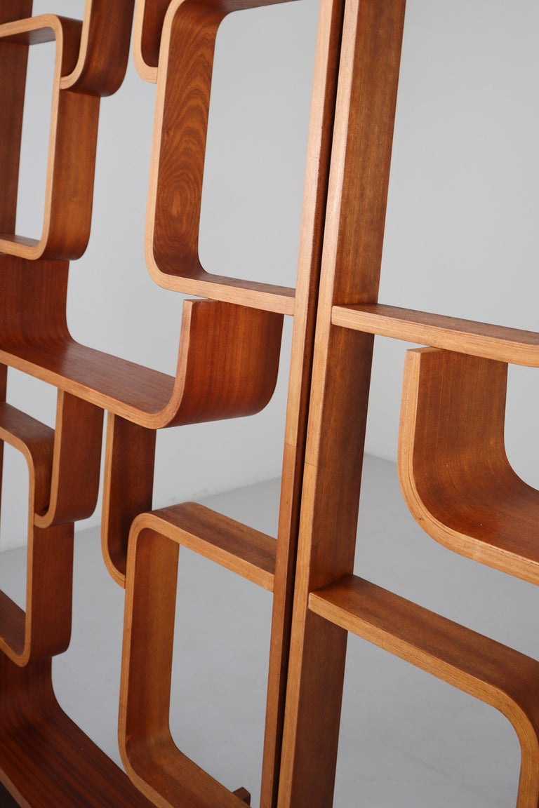 Large Set of Mahogany Color Midcentury Room Dividers in Bentwood, circa 1960s For Sale 9