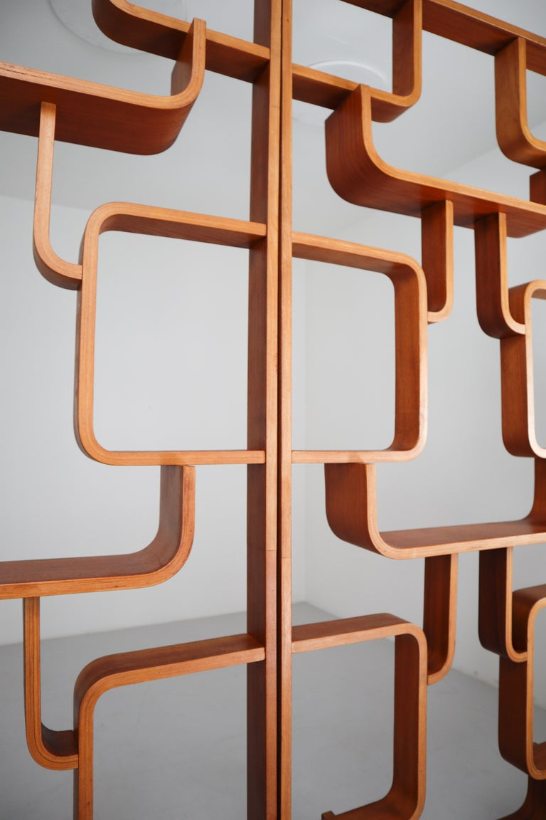 Large Set of Mahogany Color Midcentury Room Dividers in Bentwood, circa 1960s For Sale 10