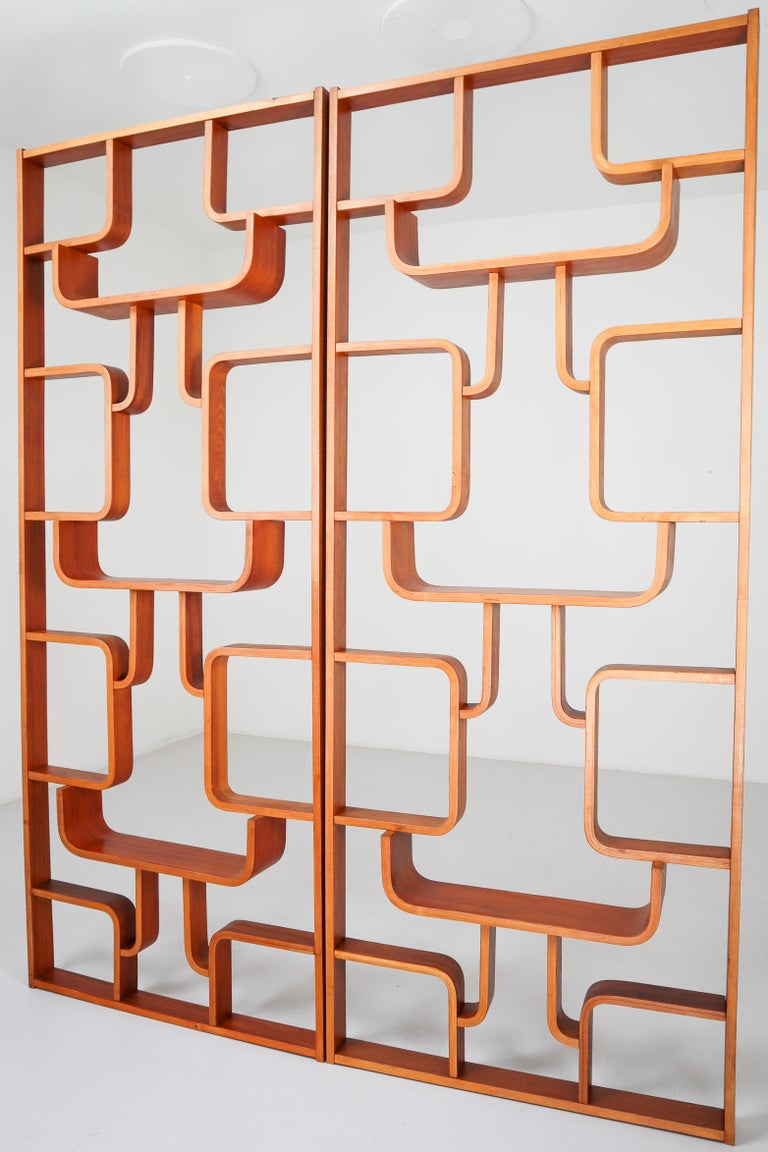 Large Set of Mahogany Color Midcentury Room Dividers in Bentwood, circa 1960s For Sale 11