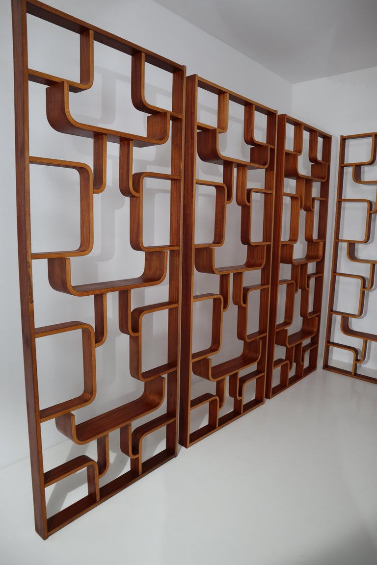 Mid-Century Modern Large Set of Mahogany Color Midcentury Room Dividers in Bentwood, circa 1960s For Sale
