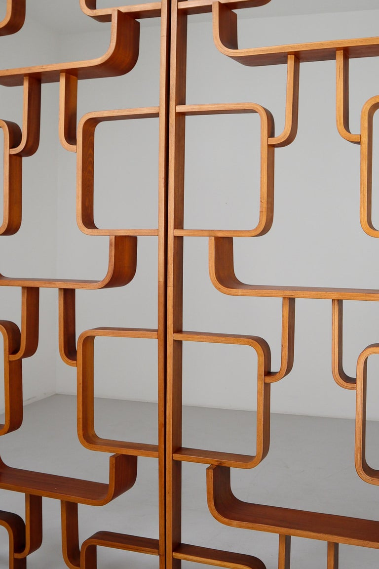 Czech Large Set of Mahogany Color Midcentury Room Dividers in Bentwood, circa 1960s For Sale