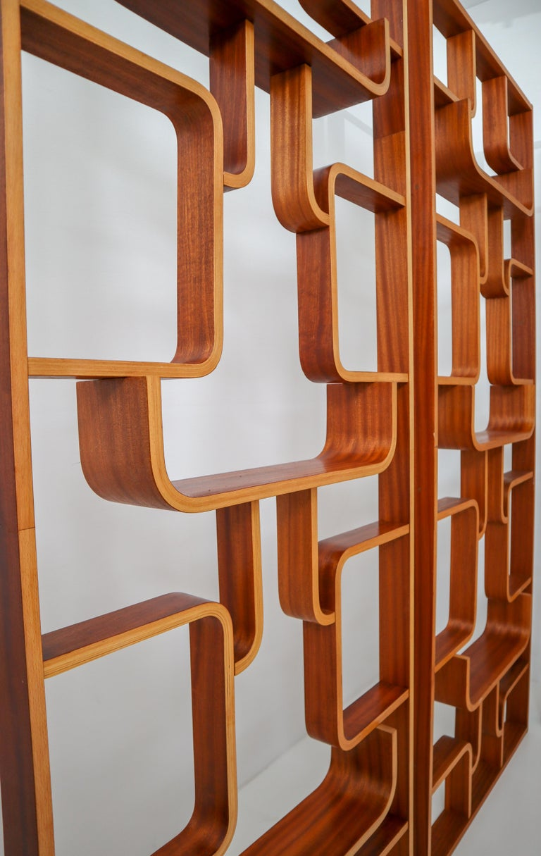 20th Century Large Set of Mahogany Color Midcentury Room Dividers in Bentwood, circa 1960s For Sale